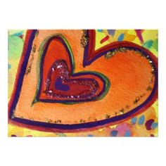 Happy Hearts Mini Poster Print shows a small purple heart is enclosed by a red heart that is within orange hearts. The hearts are outlined in green, purple, and red. The watercolor background is a soft yellow with colorful confetti dots. Easy Heart Drawings, Heart Painting, Painting Art, Heart Poster, Glitter Art, Rainbow Art, Awareness Ribbons, Happy Heart, Heart Art