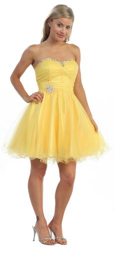 Short Yellow Homecoming Dress Tulle strapless Beading Lace Up Back $135.99