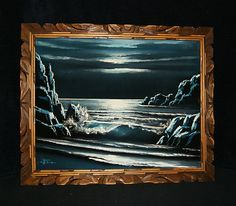 Vintage Blue Moon Ocean Wave Break Signed Oil Velvet Framed Painting | eBay Velvet Painting, Creepy Clown, Vintage Velvet, Ocean Waves, Blue Moon, Painting Frames, Black Velvet, Paintings, Guilty Pleasure