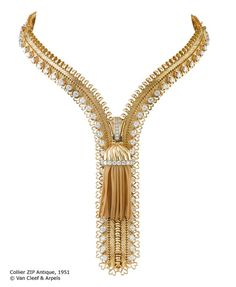 In 1950, the Duchess of Windsor, suggested to jewelry house Van Cleef & Arpels that they should design a necklace utilizing the technical magic of the zipper.  The Zip was created–a feat of master craftsmanship–the piece can be worn open as a necklace and when closed, becomes a bracelet.