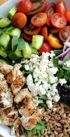 Chopped Farro and Kale Greek Salad with Chicken