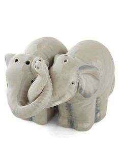 Vintage Bridal Shower Gifts for Her New Home / Kitchen: Trunks Full of Taste Elephant Couple Pair of Salt and Pepper Shakers @ ModCloth