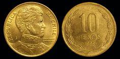 Novo Peso chileno (1975-em uso) (x) 5 pesos (1990-2015) O: efígie de Bernardo…