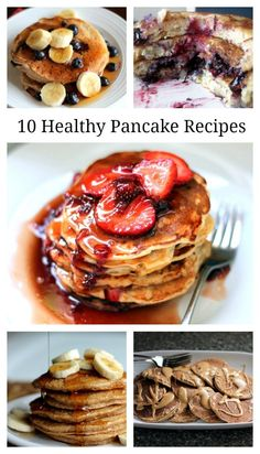 10 Healthy Pancakes You Need to Try! These recipes are amazing! Monique Volz   Ambitious Kitchen #breakfast #recipe #brunch #healthy #recipes