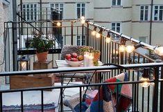 15 Tiny Balcony Lighting Tips Tiny Balcony, Outdoor Balcony, Outdoor Spaces, Outdoor Living, Outdoor Decor, Small Balconies, Balcony Ideas, Apartment Balcony Decorating, Apartment Balconies
