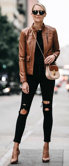 #fall #outfits women's tortoiseshell framed sunglasses, brown leather zip-up jacket, black inner top, beige and brown leather crossbody bag, distress black capri fitted pants, and pair of brown heeled shoes