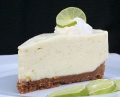 No-Bake Key Lime Cheesecake - cream cheese, sweetened condensed milk, key lime juice and zest, and Cool Whip in a homemade graham cracker crust.