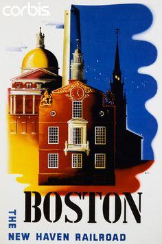 Vintage Travel Poster - USA - Massachusetts - Boston Poster by Ben Nason.