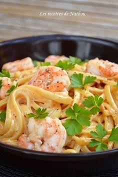 Les recettes de Nathou: Pâtes linguine aux crevettes, sauce crémeuse à l'ail, paprika fumé et citron: