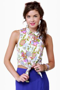 Cute Floral Print Top - Sleeveless Top - $42.00