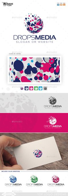 Drops Media Logo Template $29 ::::::::::::::::::::::::::::::::::::: 	3d, ball logo, clean brand, colorful, creative tree, developer, digital identity, drops, elegant, entertainment, group, ideal, internet, IT community, media, mobile data, modern, pixel designer, print, printers, professional, programmer, push, simple, technical, technology, unique