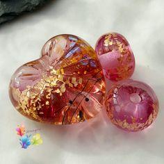 Lampwork Beads Pink Champagne Starburst by GlitteringprizeGlass  Pink Champagne anyone?   #glitteringprizeglass #lampwork #jewellerydesign #handmade #beads #craftsupply #heart