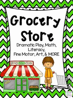 Grocery Store Dramatic Play for Preschool, Pre-k, and Kindergarten Dramatic Play Themes, Dramatic Play Area, Dramatic Play Centers, Preschool Food, Preschool Centers, Preschool Themes, Preschool Teachers, Montessori Activities, Play Grocery Store