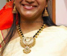 Black Beads Set with Chandbali Locket - Jewellery Designs Indian Jewellery Design, Indian Jewelry, Jewelry Design, Latest Jewellery, Fashion Jewellery, Pearl Jewelry, Bridal Jewelry, Beaded Jewelry, Gold Jewelry Simple