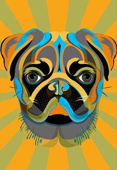 PUG dog art print - Pop Art style Poster size Canvas art print in blue, green, yellow and orange, available in or Pug Pop Art, Pug Art, Graffiti Studio, Art And Illustration, Pugs And Kisses, Pop Art Portraits, Dog Poster, Print Poster, Animal Decor