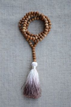 Hand Dyed Ombre Tassel on Wooden Bead Long Necklace with Gold Nuggets // www.etsy.com/shop/hannahclairejewelry