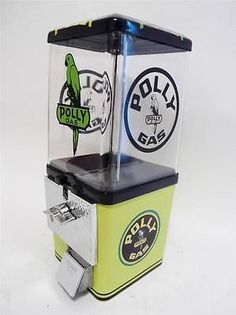 Vintage KOMET 25 ¢ Gumball Vending Machine that has been completely restored and themed to Polly Gas complete with all original components including: * Machine Base & Body – light green & black - Abso