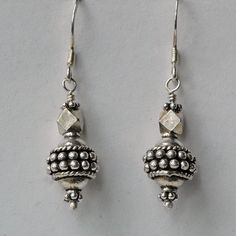 "India sterling silver beads on sterling french hook ear wires. 1 1/2"" long"