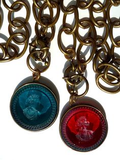 """Swoon - we love these intaglios. Classic, yet modern. Timeless really. They hand about 18"""" and the pendants are about 2"""". Wear them with jeans, wear them to work, give them to your bridesmaids, Brass chain, front toggle closure, please zoom in and you will understand why we love them.  #ijphunt"""