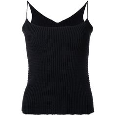 Theatre Products knitted cami top ($177) ❤ liked on Polyvore featuring tops, black, cami tank tops, cami tank, cami top, camisole tops and camisole tank