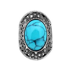 JW Collection Vintage Antique Silver Plated Victoria Flower Oval Blue Turquoise Ring >>> You can find more details by visiting the image link.
