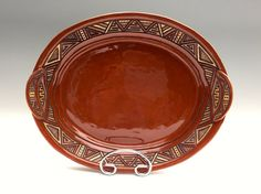 Hand Built Rustic Stoneware Serving Platter  Hand by KittingerClay