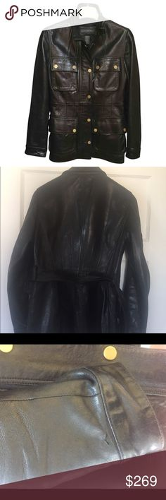 Banana Republic Military Leather Trench BANANA REPUBLIC LEATHER COAT. US WOMEN'S S 2-6. Good Condition on the exterior. The only exterior wear is a scratch on the leather to the right sleeve as shown. The lining has wear to the interior but the exterior of the coat is in good condition. This is a heavy leather so it can be worn in cold weather. Request addt'l photos if needed. Banana Republic Jackets & Coats Utility Jackets