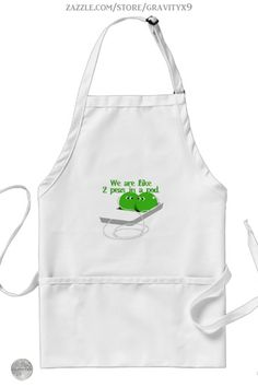 * We are Like Two Peas in a Pod Apron by #Gravityx9 at Zazzle * Three colors to choose from. * Cute peas in an ipod wearing earbuds *  Sizes for adults and children. * Adjustable neck strap for good fit. * Fun in the Kitchen * cooking accessories * kitchen accessories * cooking supplies * kitchen supplies * cooking class supplies * sous chef uniform * gift for chef * kitchen gifts * cooking class * #apronaddiction #apron #kitchen #cooking #inthekitchen #peasinapod #ipod #music #peas #cute…