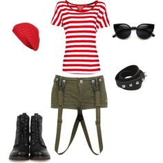"""#light #military #casual #city #stripes"" by kaczusna on Polyvore"