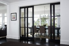 40 Stunning Sliding Glass Door Designs For The Dynamic Modern Home Rocky Ledge Dining Room – contemporary – dining room – boston – LDa Architecture & Interiors Interior Barn Doors, Home Interior, Interior Architecture, Interior Design, Stylish Interior, Contemporary Interior, Interior Sliding Glass Doors, Luxury Interior, Interior Office