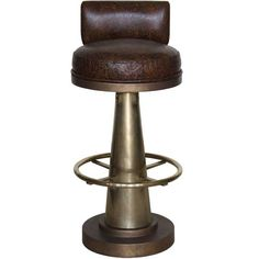 Brass Cone Bar Chair with Brass Footrest