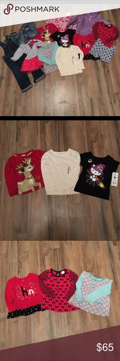 Girls size 2T lot Includes. NWT old navy overalls. Farm girl jeans. Okie dokie leggings. Gap jacket. Children's place shine shirt. Holiday time shirt. Carter's shirt. NWT Cherokee shirt. NWT hello kitty shirt. Fisher price shirt. Cupcake sleeper. Youngland shirt. Carter's Shirts & Tops Tees - Long Sleeve