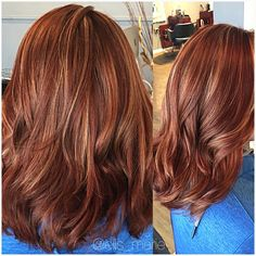 Red copper/blonde highlights More Brown Auburn Hair, Copper Brown Hair, Reddish Brown Hair, Hair Color Auburn, Brown Blonde Hair, Copper Blonde, Burgundy Hair, Auburn Highlights, Brown Hair With Highlights