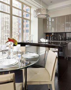 "Cabinetry (""SieMatic BeauxArts.02""/Truffle Grey Gloss Lacquer); hardware (polished nickel): De Giulio Kitchen Design, 847/256-8833, degiulio..."