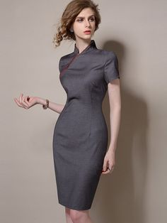 Black Qipao / Cheongsam Dress with Asymmetric Zip - CozyLadyWear