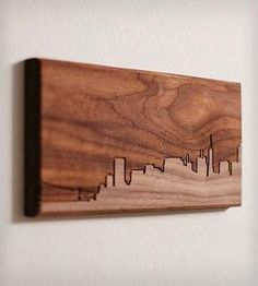 Simple Stain Wood art Skyline -- think about states too