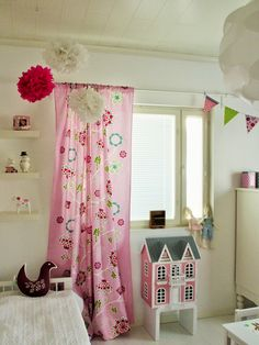 Lastenhuone ja PomPomit Curtains, Home Decor, Blinds, Decoration Home, Room Decor, Interior Design, Draping, Home Interiors, Net Curtains