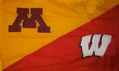Minnesota and Wisconsin hand sewn house divided flag. Available in sleeve or grommet finish, $64.99 House Divided Flags, Wisconsin, Minnesota, Hand Sewing, Divider, Fictional Characters, Sleeve, Manga, Sewing By Hand