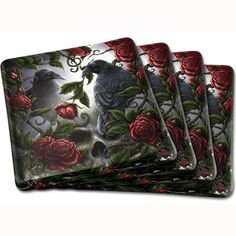 "Gothic Coaster Set, Sorrow For The Lost Gothic Coasters by Linda M Jones. A beautiful set of 4 glass coasters with the stunning roses and ravens design - ""Sorrow for the Lost"" by fantasy artist Linda M Jones. These great gothic coasters would make a perfect gift!   Part of our carefully selected Gothic Home Ware and Gothic Décor Range at ANGEL CLOTHING."