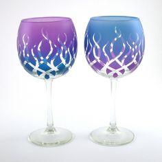 Purple and Blue Wine Glasses