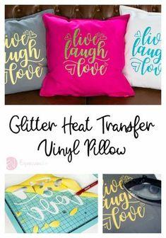 Using Siser Glitter Heat Transfer Vinyl on a Pillow. Cricut Craft Room, Cricut Vinyl, Cricut Air, Vinyl Crafts, Vinyl Projects, Cheap Heat Transfer Vinyl, Glitter Projects, Cricut Tutorials, Cricut Ideas