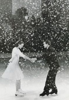 snow, couple, ice skating, black and white, photography