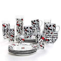 Disney Allover Mickey and Minnie Porcelain Cereal/Soup Bowls - Set of 4 in Minnie