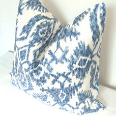 On BOTH SIDES - Pillow Cover - Decorative Pillow - Throw Pillow - Ikat - 20x20 in - Blue. $49.00, via Etsy.