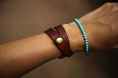 diy leather bracelet... love this.