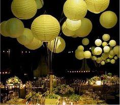 Green lanterns and lights make an Emerald City