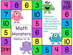 Math Monsters Addition to 10 board games - super fun! 72 game cards that will make adding so much fun!