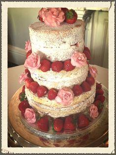 Naked Wedding cake for a beautiful wedding at Walton Hall