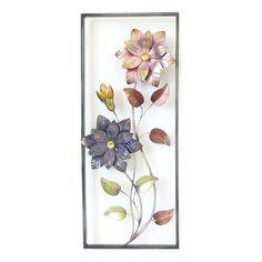 Metal Garden Wall Art, Metal Art Decor, Metal Wall Art, Metal Flowers, Pink Flowers, Spa Design, Wood Design, Design Ideas, Metal Art Projects