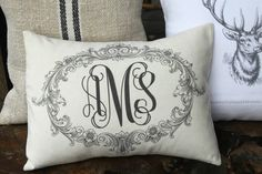 linen pillow | Vintage French Metis Linen Personalized Lumber Cushion Pillow Monogram ...
